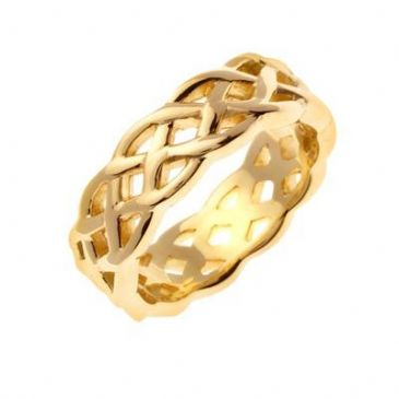 18K Gold 7mm Celtic Weave Wedding Band 4027