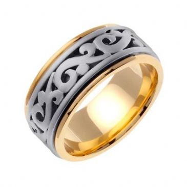 14K Gold Two Tone 9.5mm Celtic Wedding Band 4028