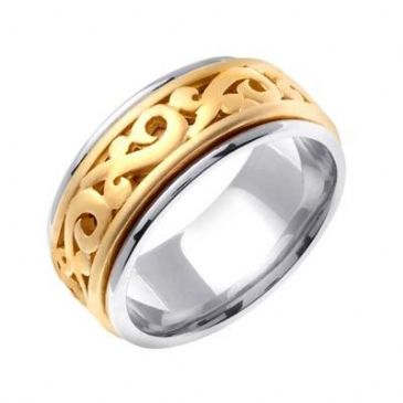 18K Gold Two Tone 9.5mm Celtic Wedding Band 4029