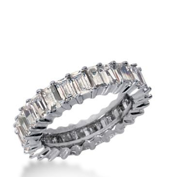 18k Gold Diamond Eternity Wedding Bands, Shared Prong Setting 4.50 ct. DEB23918K