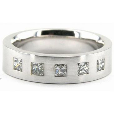 950 Platinum 6mm Diamond Wedding Bands Rings 1963