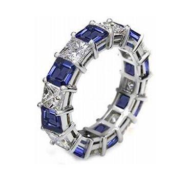 18k Shared Prong 2.70 Carat Sapphire & Diamond Eternity Band