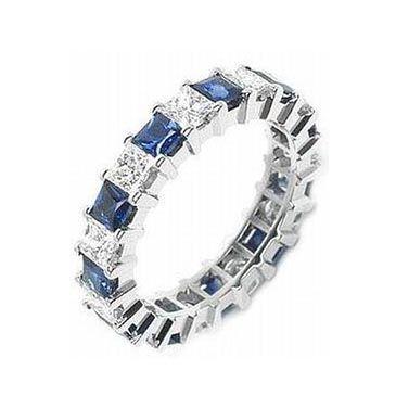 950 Platinum Shared Prong 2.00 Carat Sapphire & Diamond Eternity Band