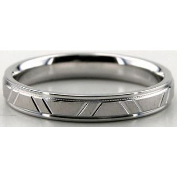Platinum 950 3.5mm Diamond Cut Wedding Band 669