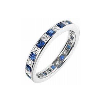 950 Platinum Channel-Set 1.00 Carat Diamond & Sapphire Eternity Band