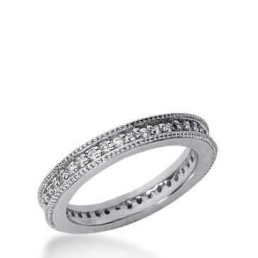 18k Milgrain Gold Diamond Eternity Wedding Bands, Prong Setting 0.50 ct. DEB37618K