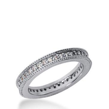 18k Milgrain Gold Diamond Eternity Wedding Bands, Prong Setting 0.50 ct. DEB37618K