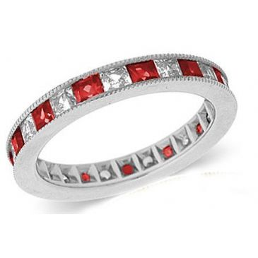 18k Channel Set 1.40ct Princess Diamond & Ruby Milgrain Eternity Band