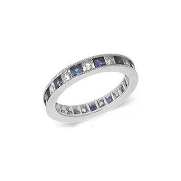 18k Channel Set 1.40ct Princess Diamond & Sapphire Milgrain Eternity Band