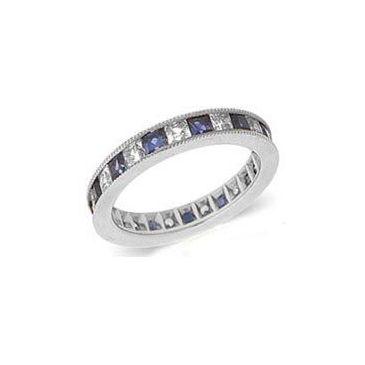 950 Platinum Channel Set 1.40ct Princess Diamond & Sapphire Milgrain Eternity Band