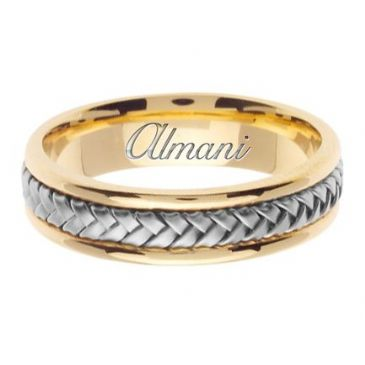 18k Gold 5.5mm Handmade Two Tone Wedding Ring 050 Almani