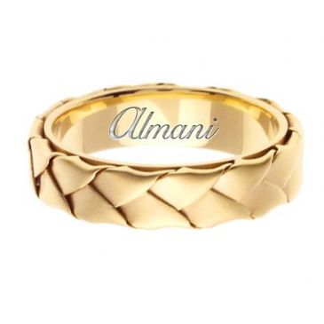 18K Gold 5mm Handmade Wedding Ring 078 Almani