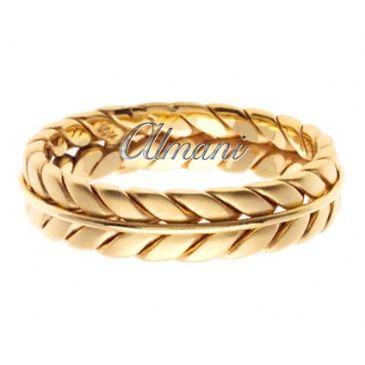 18K Gold 6mm Handmade Wedding Ring 081 Almani