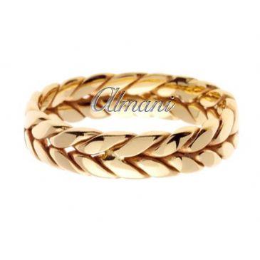 18K Gold 6mm Handmade Wedding Ring 082 Almani