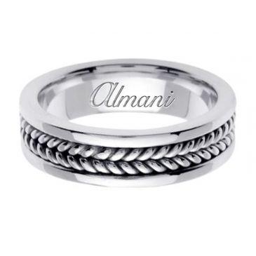 18K Gold 6mm Handmade Wedding Ring 091 Almani