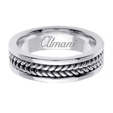 950 Platinum 6mm Handmade Wedding Ring 091 Almani