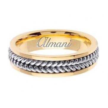 18K Gold 6mm Handmade Two Tone Wedding Ring 092 Almani