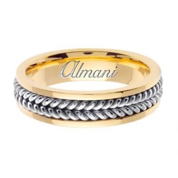 950 Platinum & 18K Gold 6mm Two Tone Wedding Ring 092 Almani