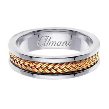 14k Gold 6mm Handmade Two Tone Wedding Ring 117 Almani