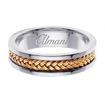 18K Gold 6mm Handmade Two Tone Wedding Ring 117 Almani