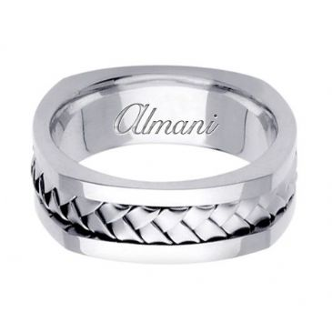 18K Gold 7.5mm Handmade Wedding Ring 059 Almani