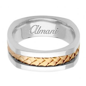 18K Gold 7.5mm Handmade Two Tone Wedding Ring 060 Almani