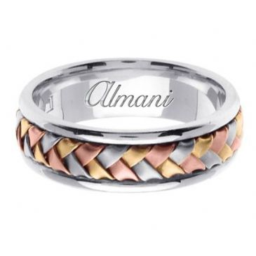 18K Gold 7mm Handmade Tri-Color Wedding Ring 053 Almani
