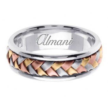 950 Platinum & 18K Gold 7mm Handmade Tri-Color Wedding Ring 053 Almani™