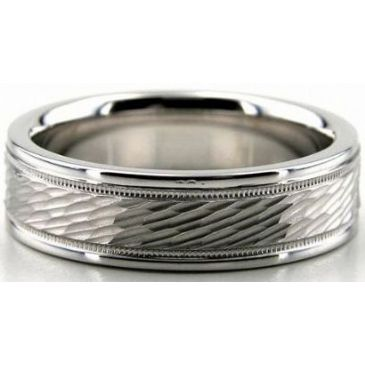 Platinum 950 6mm Diamond Cut Wedding Band 652