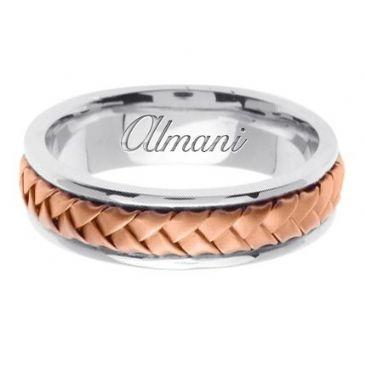 18K Gold 7mm Handmade Two Tone Wedding Ring 054 Almani