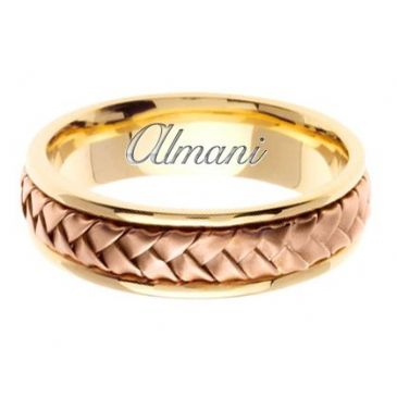14k Gold 7mm Handmade Two Tone Wedding Ring 055 Almani