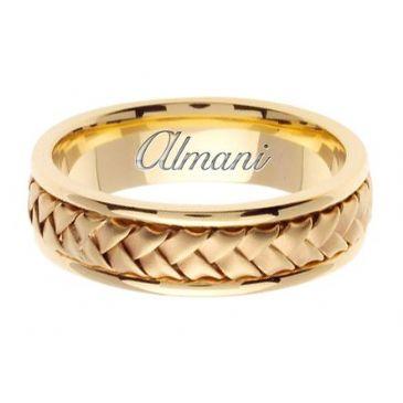 18K Gold 7mm Handmade Wedding Ring 056 Almani