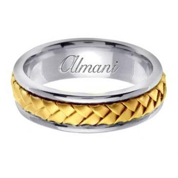 18K Gold 7mm Handmade Two Tone Wedding Ring 058 Almani
