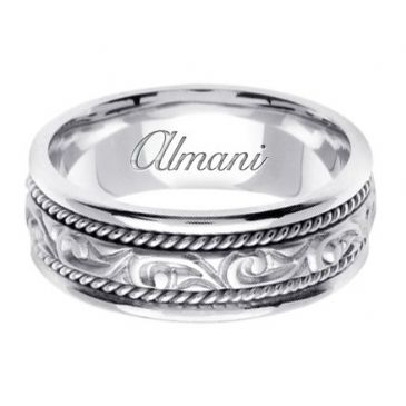 14K Gold 7mm Handmade Wedding Ring 069 Almani
