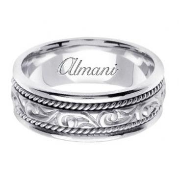 18K Gold 7mm Handmade Wedding Ring 069 Almani