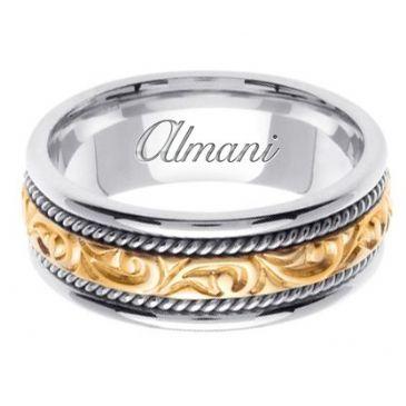 14k Gold 7mm Handmade Two Tone Wedding Ring 070 Almani