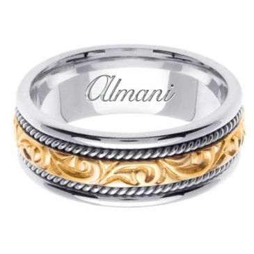 18K Gold 7mm Handmade Two Tone Wedding Ring 070 Almani