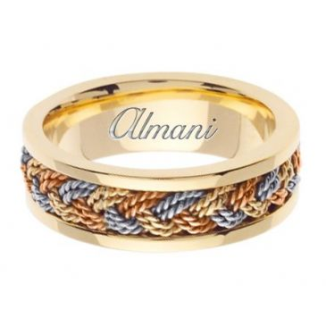 14k Gold 7mm Handmade Tri Color Wedding Ring 073 Almani