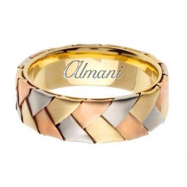 14k Gold 7mm Handmade Tri Color Wedding Ring 077 Almani