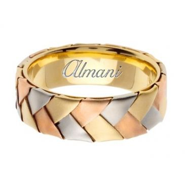 18K Gold 7mm Handmade Tri-Color Wedding Ring 077 Almani