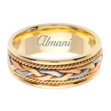 14k Gold 7mm Handmade Tri Color Wedding Ring 084 Almani