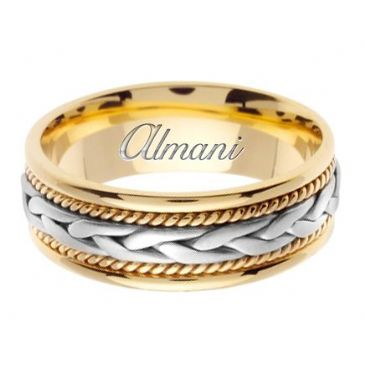 18K Gold 7mm Handmade Two Tone Wedding Ring 085 Almani