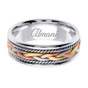 18K Gold 7mm Handmade Tri-Color Wedding Ring 086 Almani