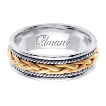 18K Gold 7mm Handmade Two Tone Wedding Ring 087 Almani