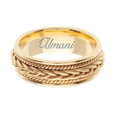 18K Gold 7mm Handmade Wedding Ring 088 Almani
