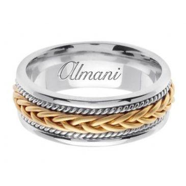 14k Gold 7mm Handmade Two Tone Wedding Ring 090 Almani