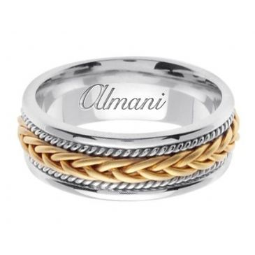 18K Gold 7mm Handmade Two Tone Wedding Ring 090 Almani