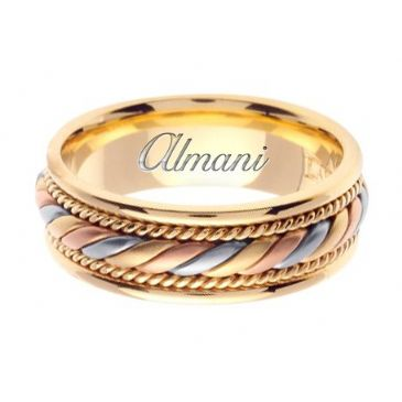 18K Gold 7mm Handmade Tri-Color Wedding Ring 093 Almani