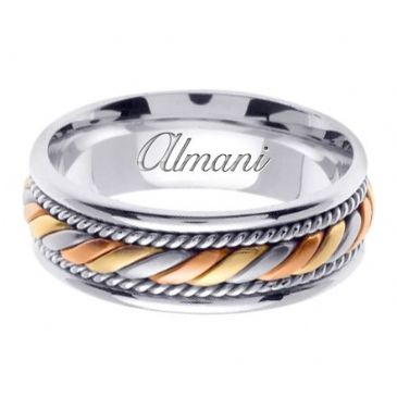 18K Gold 7mm Handmade Tri-Color Wedding Ring 094 Almani