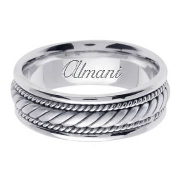 18K Gold 7mm Handmade Wedding Ring 095 Almani